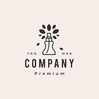 Modèle de logo vintage hipster feuille d'arbre de parfum naturel