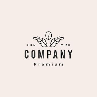 Modèle de logo vintage hipster feuille de grain de café