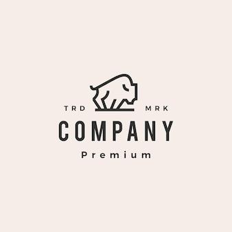 Modèle de logo vintage hipster monoline contour bison