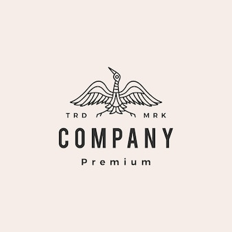 Modèle de logo vintage hipster monoline oiseau grue