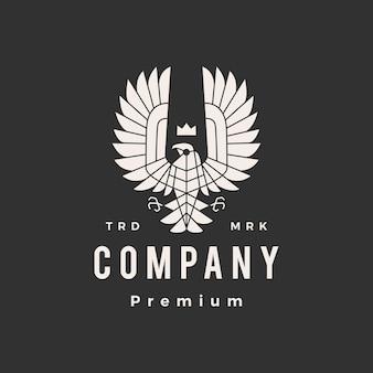 Modèle de logo vintage hipster oiseau de proie condor