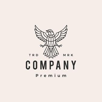 Modèle de logo vintage hipster oiseau rossignol monoline