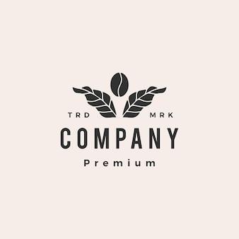 Modèle de logo vintage hipster plante feuille de grain de café