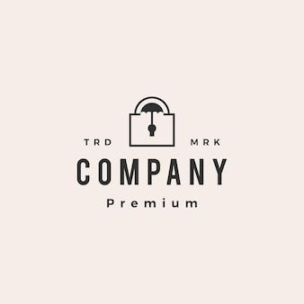 Modèle de logo vintage hipster sécurité cadenas parapluie
