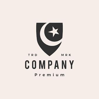 Modèle de logo vintage de hipster de sécurité de l'islam musulman de bouclier d'étoile de croissant de lune