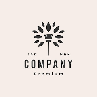 Modèle de logo vintage hipster service de nettoyage de feuilles d'arbre à balai