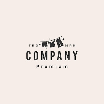 Modèle de logo vintage hipster de vêtements de séchage de blanchisserie