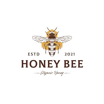 Modèle de logo vintage honey bee