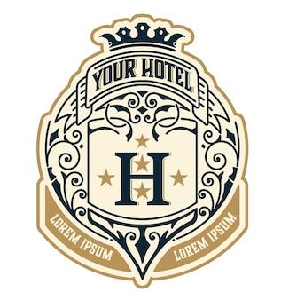 Modèle de logo vintage, identité d'hôtel, de restaurant, d'entreprise ou de boutique. conception avec des éléments de conception élégants s'épanouit. royauté, style héraldique.