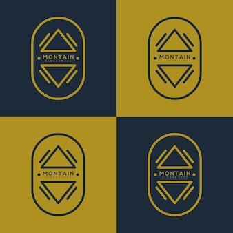 Modèle de logo vintage ligne art montagne