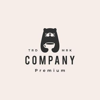 Modèle de logo vintage loutre café hipster