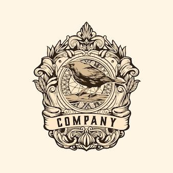 Modèle de logo vintage oiseau