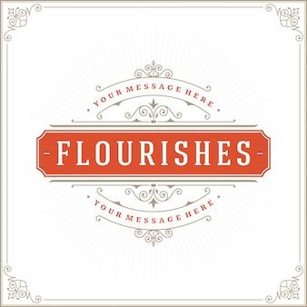 Modèle de logo vintage, or élégant ornements avec bordure de cadre fleuri