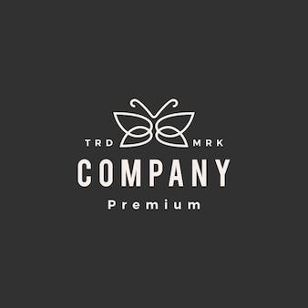 Modèle de logo vintage papillon hipster