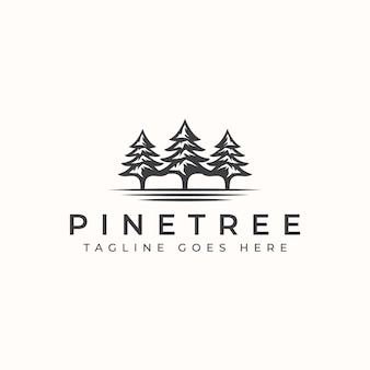 Modèle de logo vintage pine tree.