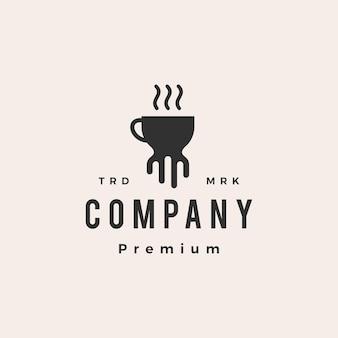 Modèle de logo vintage poulpe kraken café hipster