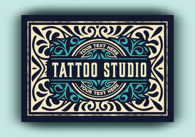 modèle de logo vintage pour le studio de tatouage