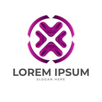 Modèle de logo violet x