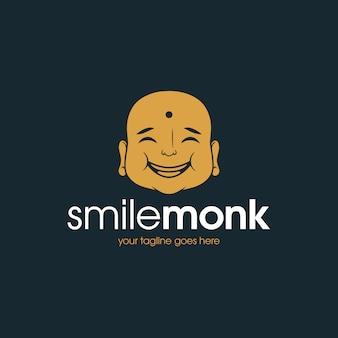 Modèle de logo de visage de bouddha d'or