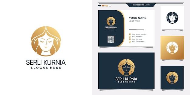 Modèle de logo de visage de femme de beauté avec concept d'espace négatif et conception de carte de visite. vecteur premium
