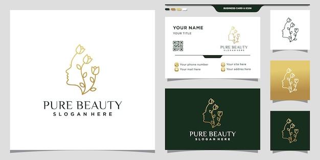 Modèle de logo de visage de femme beauté avec fleur rose dans un style linéaire et conception de carte de visite