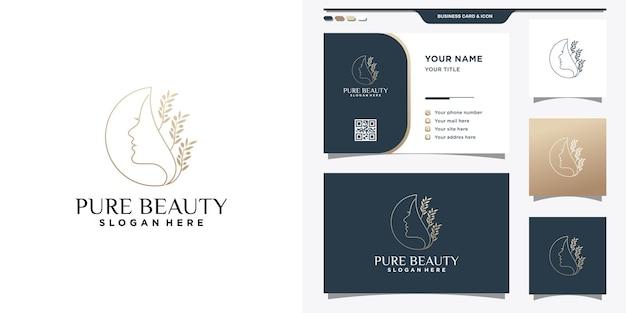 Modèle de logo de visage de femme de beauté avec style d'art en ligne et conception de carte de visite