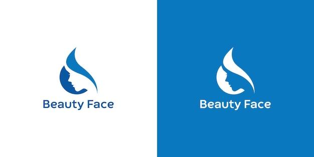 Modèle de logo de visage de femme de beauté vecteur premium
