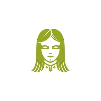 Modèle de logo de visage de femme feuille verte