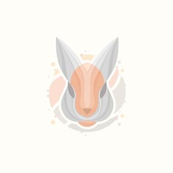 Modèle de logo de visage de lapin