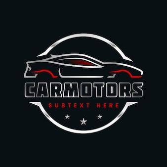 Modèle de logo de voiture argent réaliste