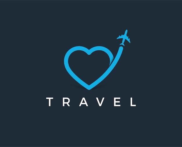 Modèle de logo de voyage aérien minimal