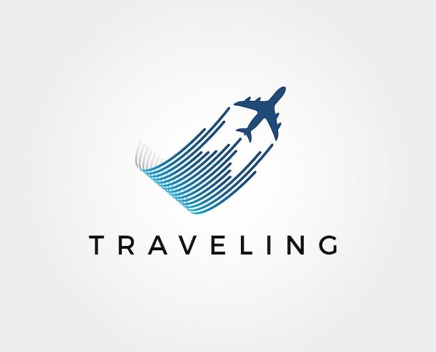 Modèle de logo de voyage aérien