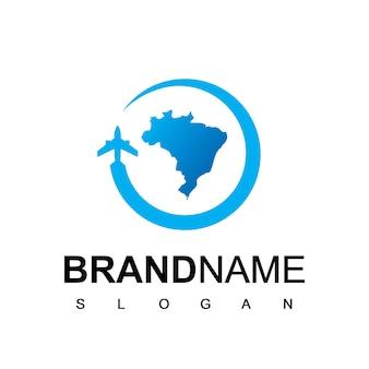 Modèle de logo de voyage au brésil