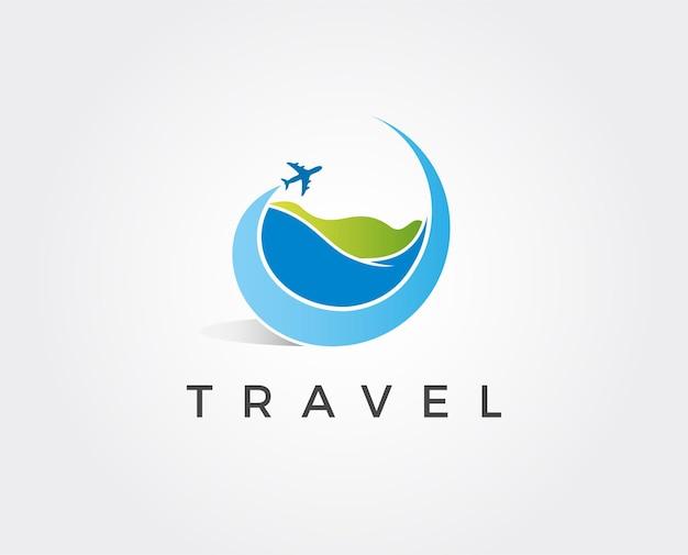 Modèle de logo de voyage en avion