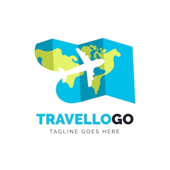Modèle de logo de voyage avec carte et avion