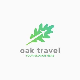Modèle de logo de voyage en chêne