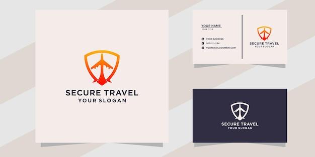 Modèle de logo de voyage sécurisé