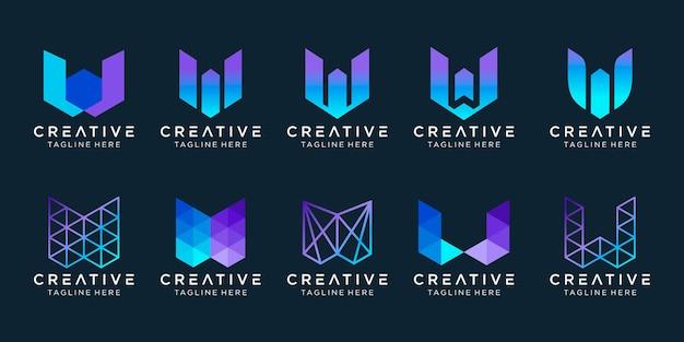 Modèle de logo w initiales abstraites.