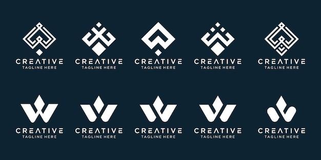 Modèle de logo w initiales de la collection. icônes pour les entreprises de mode, numérique, technologie, simple.