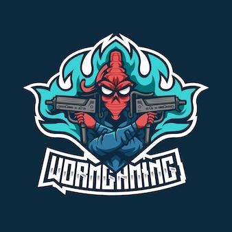 Modèle de logo worm gaming esport