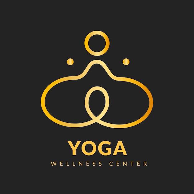 Modèle de logo de yoga moderne, vecteur d'affaires de bien-être or chic