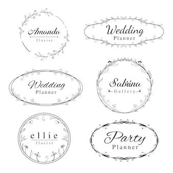 Modèle de logos de cadre floral féminin avec cadre de frontière dessiné à la main.