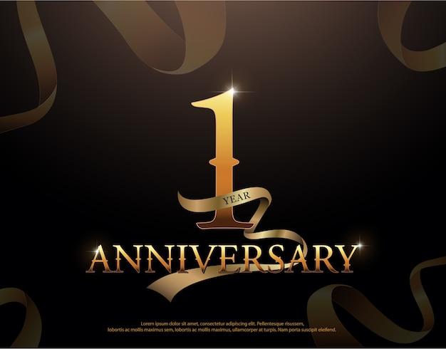 Modèle de logotype célébration anniversaire 1 an