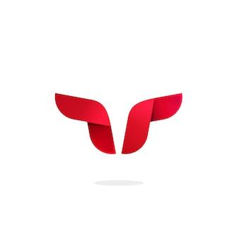 Modèle de logotype de cornes de taureau ou de buffle géométrique