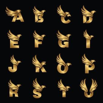 Modèle de logotype lettre avec aigle doré