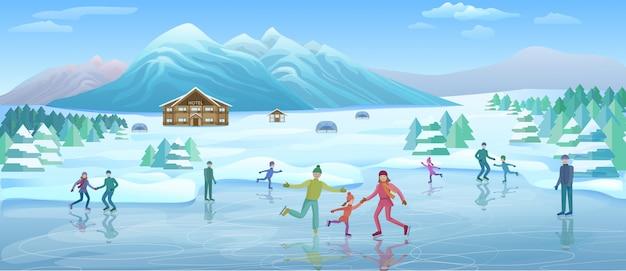 Modèle de loisirs d'hiver en montagne