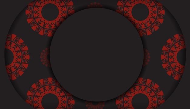 Modèle luxueux pour les cartes postales de conception d'impression en couleur noire avec des ornements grecs rouges. vector préparation de la carte d'invitation avec place pour votre texte et motifs abstraits.