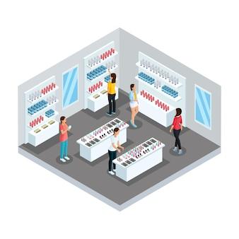 Modèle de magasin de cosmétiques isométrique