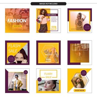Modèle de magasin de médias sociaux avec dégradé de couleur
