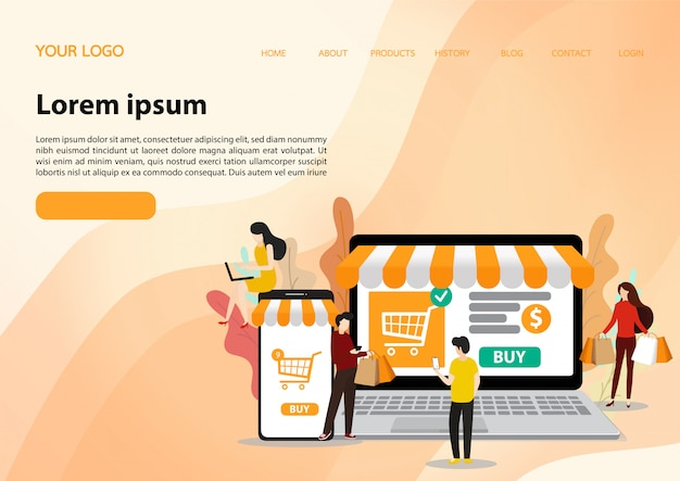 Modèle de magasinage en ligne. illustration plate